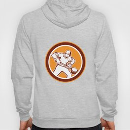 Foundry Worker Holding Ladle Circle Retro Hoody