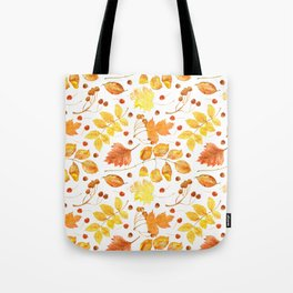 Watercolor autumn leaves seamless pattern on white background. Maple leave, hawthorn leave, birch le Tote Bag