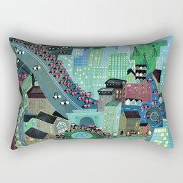 Busy night town Rectangular Pillow
