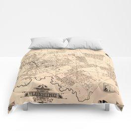 Map Of Flushing 1894b Comforters