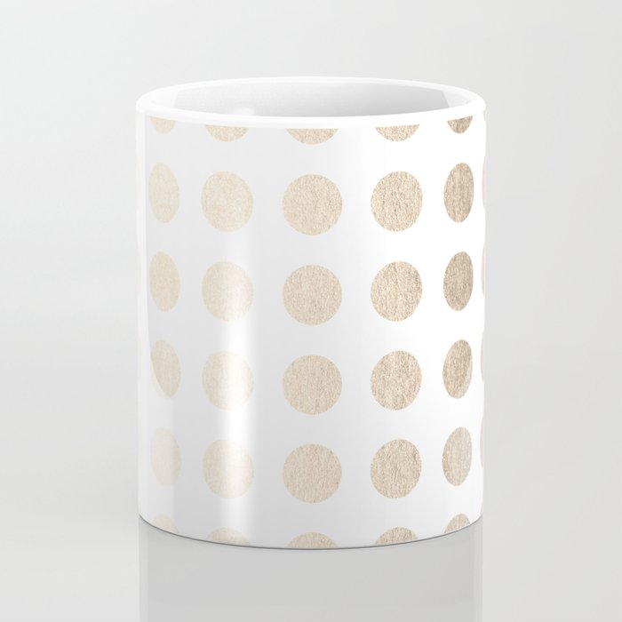Simply Polka Dots in White Gold Sands Coffee Mug