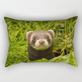 Cute Ferret in the Grass Photo Rectangular Pillow