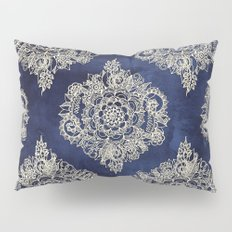 Cream Floral Moroccan Pattern on Deep Indigo Ink Pillow Sham