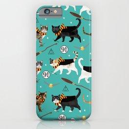 Cat wizard cats magic school pattern iPhone Case