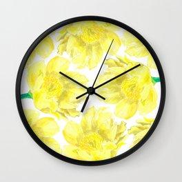 Yellow Peony Flower Pattern Wall Clock