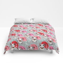 Kyoto Kitty on Grey Comforters