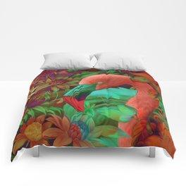 """""""Tropical Floral Retro Flamenco"""" Comforters"""
