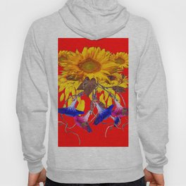 Morning Glories, Sunflowers Red Abstract Hoody