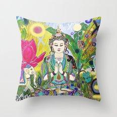 Green Tara in Paradise Throw Pillow