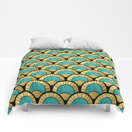 Duck Egg Green Art Deco Fan Pattern Comforters
