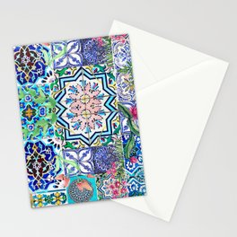 Oriental bliss watercolor tiles Stationery Cards
