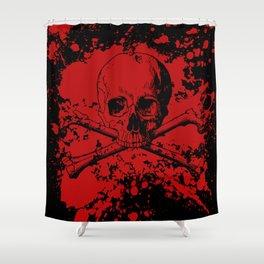 Skull and Crossbones Splatter Pattern Shower Curtain