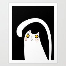 Dark Night White Cat Art Print