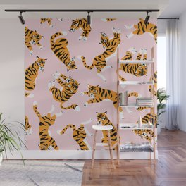 Cute tiger in the tropical forest hand drawn on pink background illustration Wall Mural