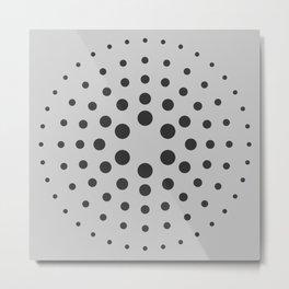 MidCentury Modern Spiral Dots Black & Grey Metal Print