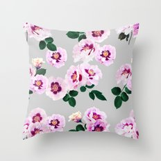 Blue Eyes Roses Throw Pillow