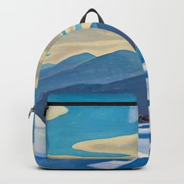 The Trapper, Winter Mountain landscape painting by Rockwell Kent Backpack