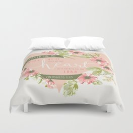 """All Your Heart"" Floral Bible Verse Print Duvet Cover"