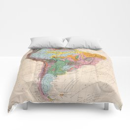 Vintage Geological Map of South America (1873) Comforters