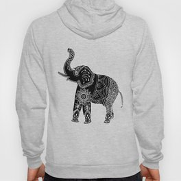 Elephant doodle in black and white. Hoody