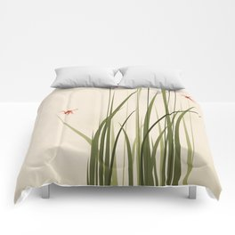 oriental style painting, tall grasses and flowers Comforters