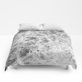 The Waves (Black and White) Comforters