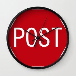 Post stop traffic sign Wall Clock