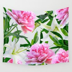 Pink Peonies & White Lilies Wall Tapestry