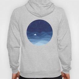 blue ocean waves, sailboat ocean stars Hoody