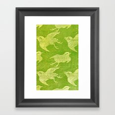 Asian oriental cranes birds green washi paper Framed Art Print