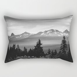 Morning in the Mountains Black and White Rectangular Pillow