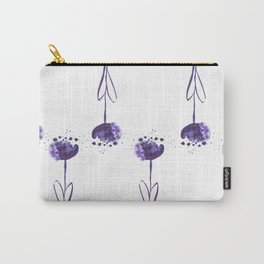 Watercolor Purple Tulips Spatter Pattern Carry-All Pouch
