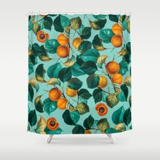 Peach and Leaf Pattern Shower Curtain