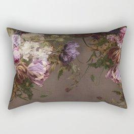 Halftone Classic Floral Taupe Rectangular Pillow