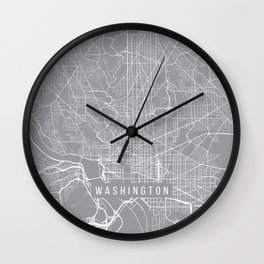 Washington Map, Dc USA - Pewter Wall Clock