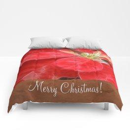Mottled Red Poinsettia 1 Ephemeral Merry Christmas S1F1 Comforters