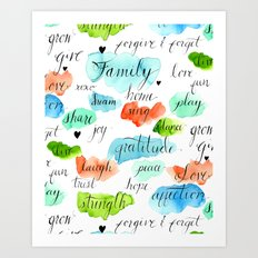 Family - Watercolor Art Print