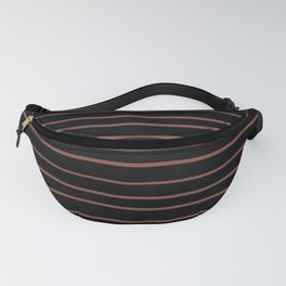 Inspired by Dunn Edwards Spice of Life DET439 Hand Drawn Horizontal Lines on Black Fanny Pack