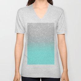 Modern girly faux silver glitter ombre teal ocean color bock Unisex V-Neck