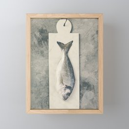Delicious fresh sea bream fish on marble board over grey stone background Framed Mini Art Print