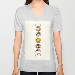 Floral Phases of the Moon Unisex V-Neck