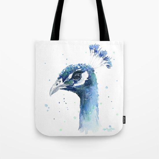 Peacock Watercolor Painting Bird Animal Tote Bag