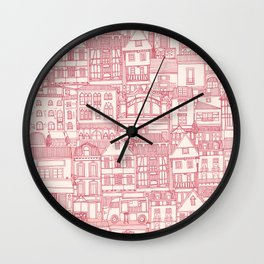 cafe buildings pink Wall Clock