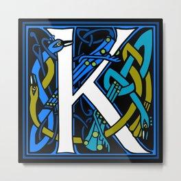 Celtic Peacock Letter K Metal Print