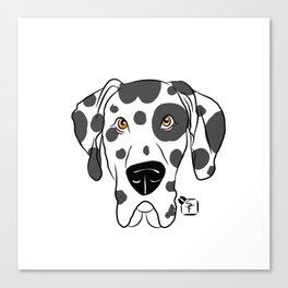 Harlequin Great Dane Face Canvas Print