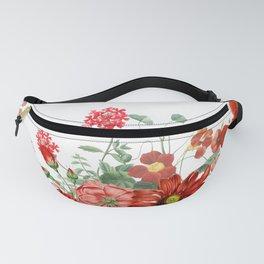 Vintage & Shabby Chic - Red Summer Flower Garden Fanny Pack