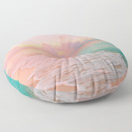 Beautiful: Aqua, Turquoise, Pink, Sunset Relaxing, Peaceful, Coastal Seashore Floor Pillow