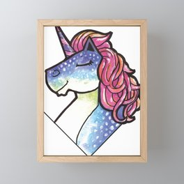 Watercolor Unicorn Fantasy Animal Framed Mini Art Print