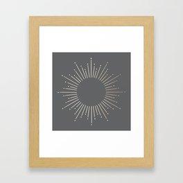 Simply Sunburst in White Gold Sands on Storm Gray Framed Art Print