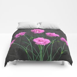 Pinks on Slate Comforters